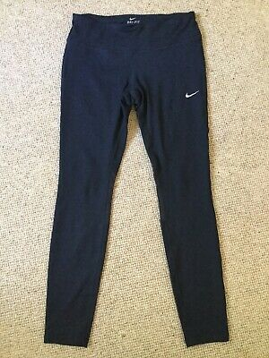 Ladies Nike Dri Fit Pants Medium Black With Tick Logo.