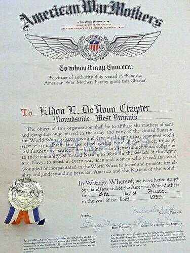 Rare Original Charter of American War Mothers-Moundsville, West Virginia