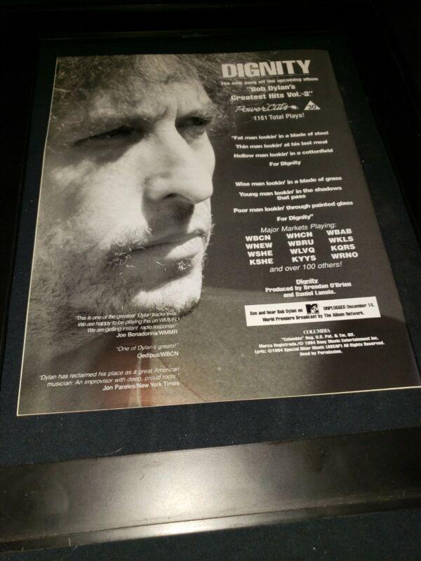 Bob Dylan Dignity Rare Original Radio Promo Poster Ad Framed! #3
