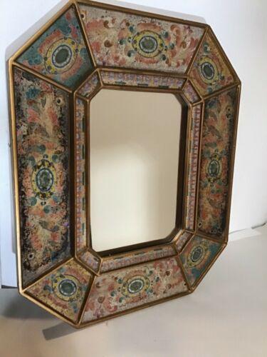 Robert M. Weiss WOODEN Wall Mirror Decor Handmade in Peru Reverse Glass Painting