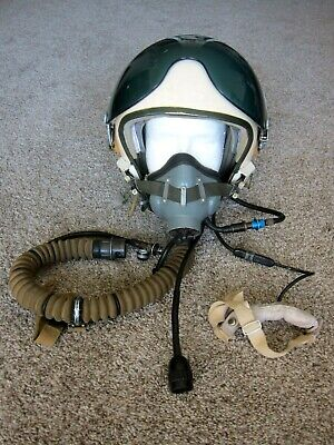 Soviet Russian ZSH-5 Flight Helmet and KM-34 Oxygen Mask Size 2 Named