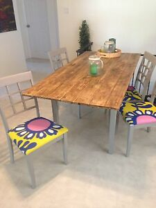Pine dining table, 4 chairs - free delivery