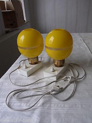 60er - 70er DDR 2  Nachttischlampen, gelber Schirm, Retro,Vintage, Plaste, Kult