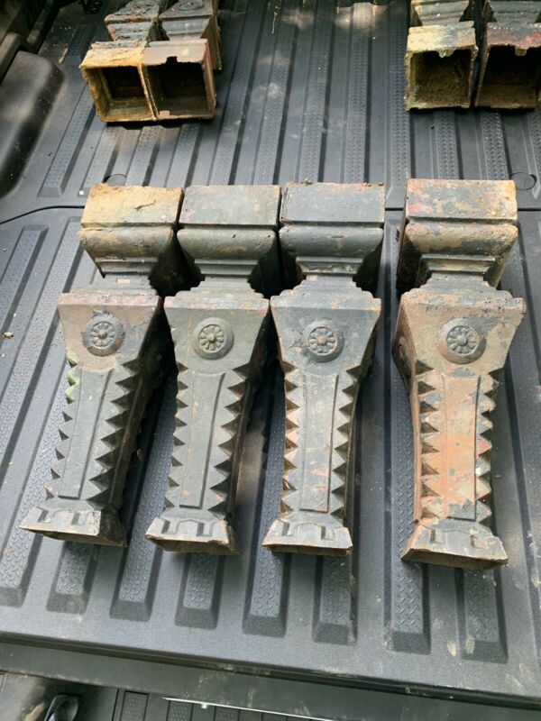 Architectural Antique Salvage 4 Heavy Ornate Cast Iron Legs Newel Post Awesome