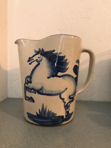 "Vintage M.A. Hadley Pottery 7.75"" Stoneware Pitcher W/Blue Horse Motif. Whoa!"