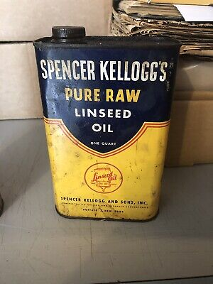 Vintage Advertising Tin Spencer Kellogg's Raw Linseed Oil