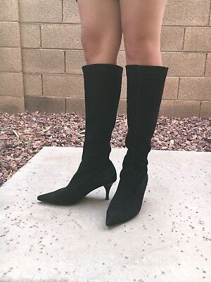 Vintage Gabor Leather Suede Knee High Boots Women's 6.5 US 90s Black Sock Boot