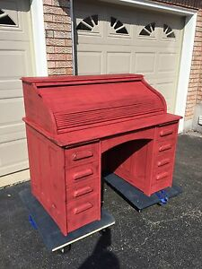 Antique painted roll top desk