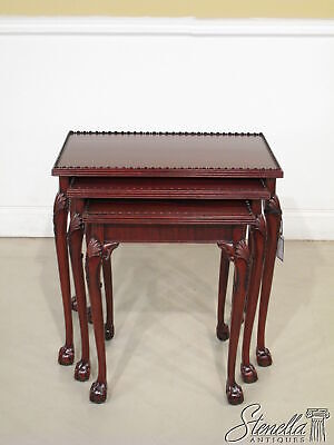 L36229: Ball & Claw Classic Mahogany Carved Chippendale Nesting Tables ~ New