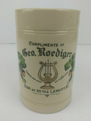 Geo. Roediger Chicago Leavitt St. Antique Advertising Beer Stein w/ Acorns Lyre