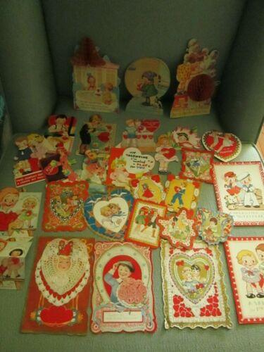 Lot of 27 Antique Vintage Valentine Cards Valentine