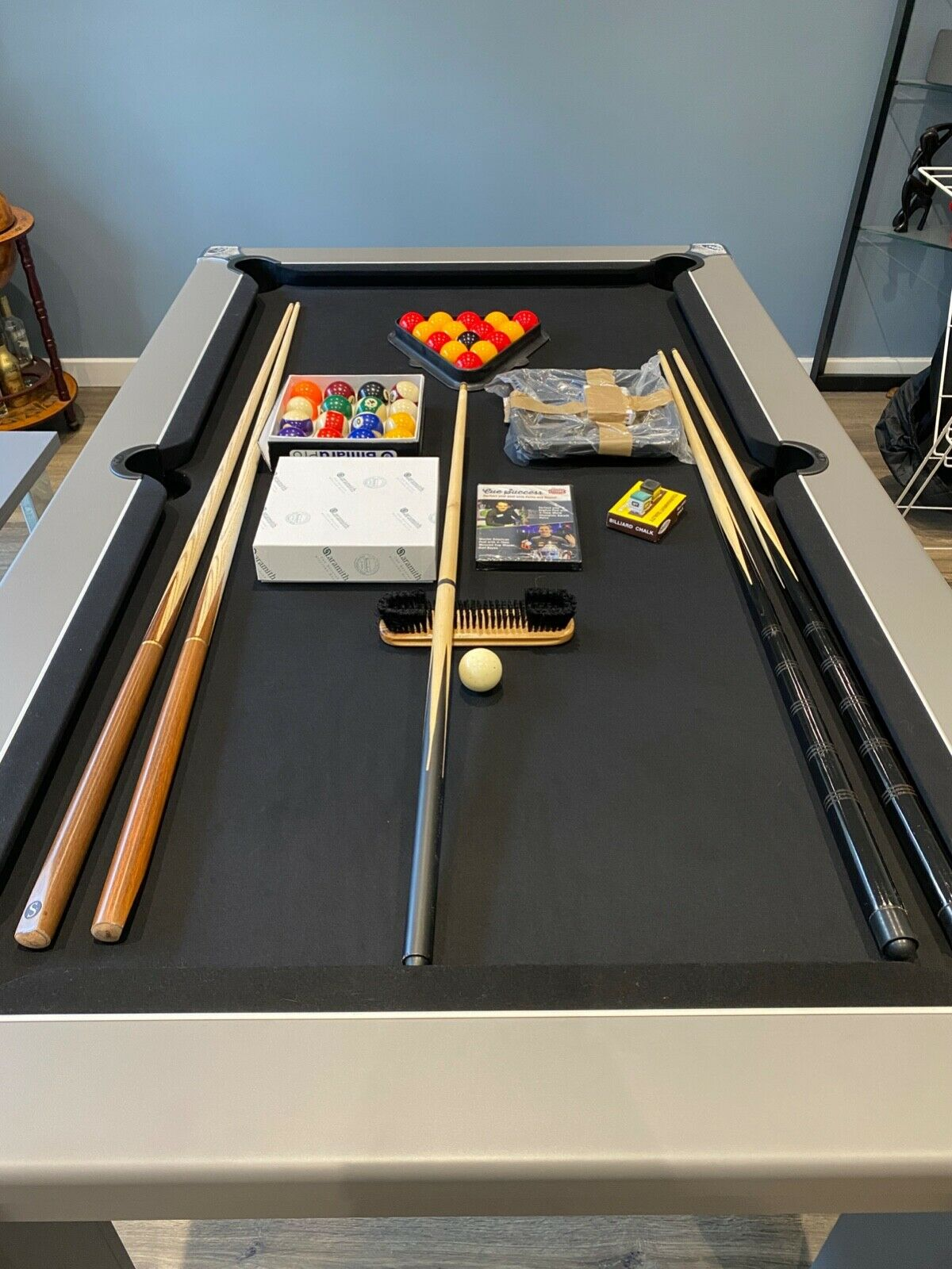 Signature Warwick Pool Dining Table 6ft - Onyx Grey, Black Cloth, Custom Benches