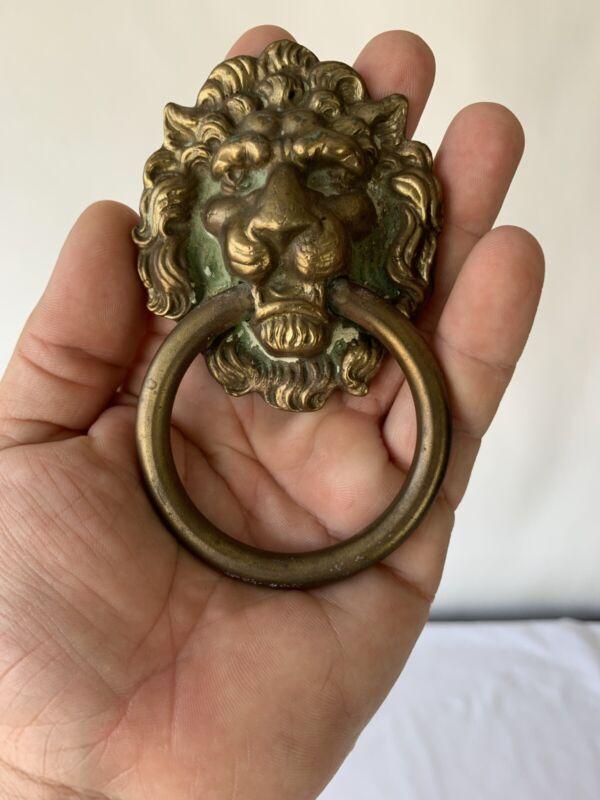 Antique Brass Lion Head Door Knocker  4 3/4 inches