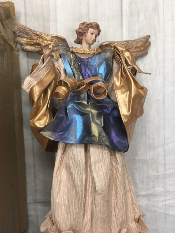 """Christmas Angel Tree Table Topper Paper Mache 13""""Tall"""