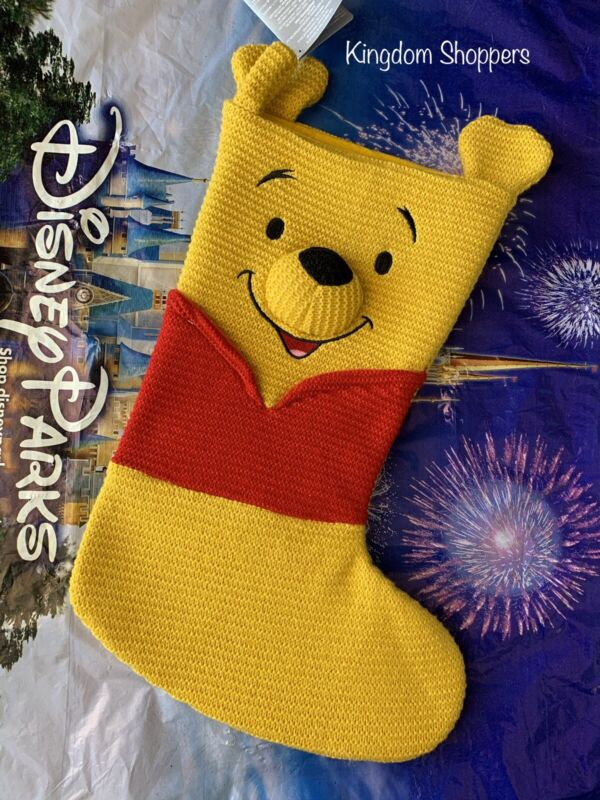2020 Disney Parks WINNIE THE POOH Christmas Holiday Knitted Stocking Brand New