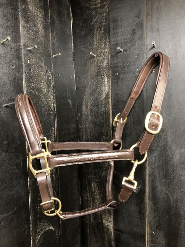 Leather Padded Stable Halter - Full Horse Size - Brass Hardware - Fancy Stitched