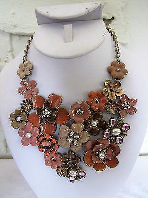 Peach Crystal Flower Pendant Enamel Statement Necklace Bib Collar Chain 20
