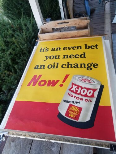 """Original 1958? X-100 Shell Motor Oil Large thick Paper Poster - 48"""" x 32 1/2"""""""