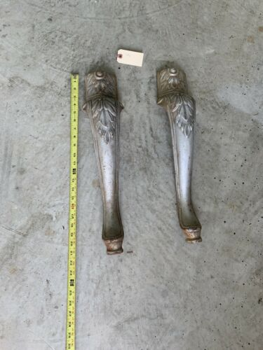 2 Heavy Antique Table Cast Iron Legs Table Chair Bench Parts - $45.00