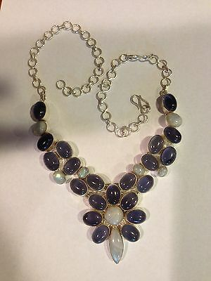 CHIC HANDCRAFTED BLUE FLASH MOONSTONE & NATURAL AMETHYST SILVER NECKLACE 18