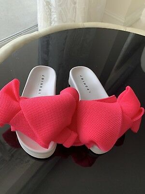 JOSHUA SANDERS Pink Technical Mesh Oversized Bow Slippers Athletic Mesh Slippers