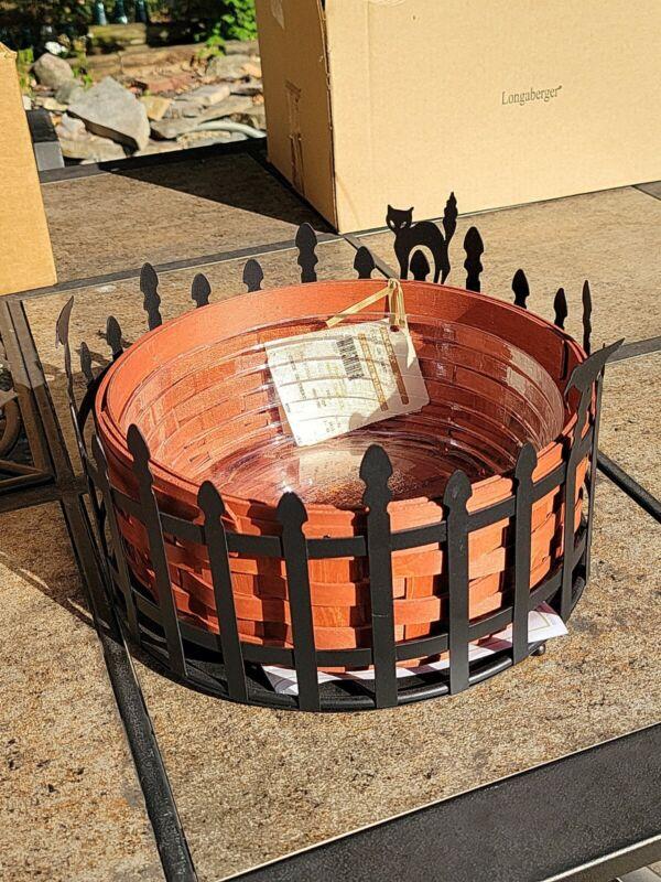 Longaberger Trick or Treat Halloween Black Cat Fence Wrought Iron / basket & lin