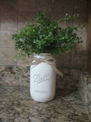 Cream Chalk Painted  Farmhouse Decor Distressed Quart Ball Mason Jar with Greens