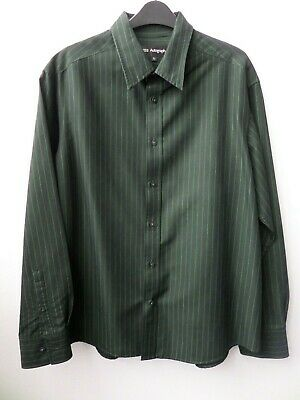 Men's M&S Autograph Long-Sleeved Green Striped Shirt Size Large