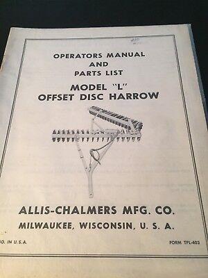 Original Allis-chalmers Off Set Disc Harrowtpl-403 Manual  Ac