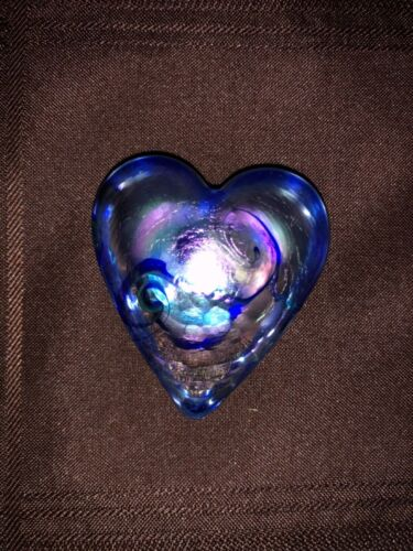 RHAG Robert Held Art Glass Blue  Heart Iridescent Swirl
