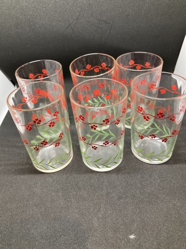LOT of (6) Red Swanky Swig FORGET ME NOT Juice Glasses NICE CONDITION Vintage