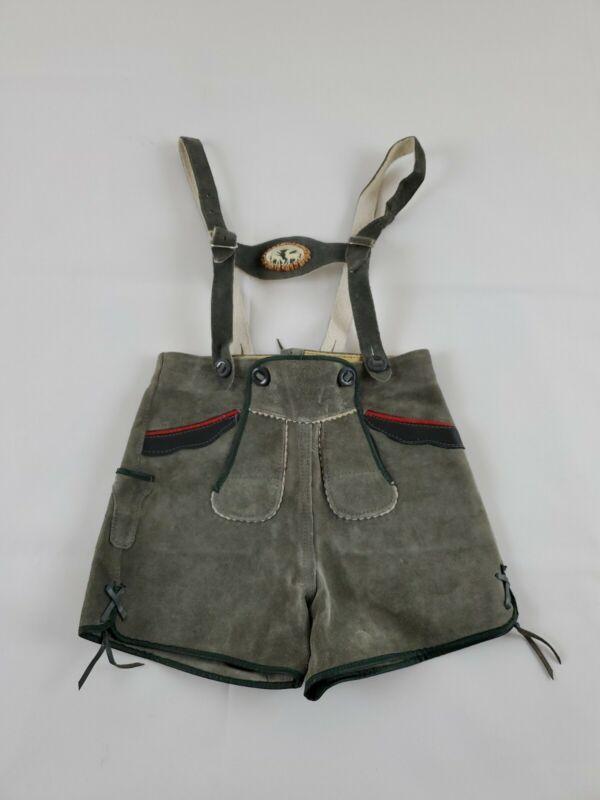 Vtg Kids Lederhosen Shorts Suede Gray Leather Pants Green Appliqué Trim German