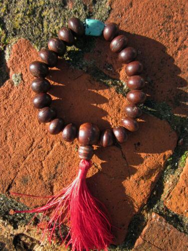 LARGE WRIST 13 X 9MM TIBETAN BUDDHIST WOOD TURQUOISE SILVER WRIST MALA NEPAL