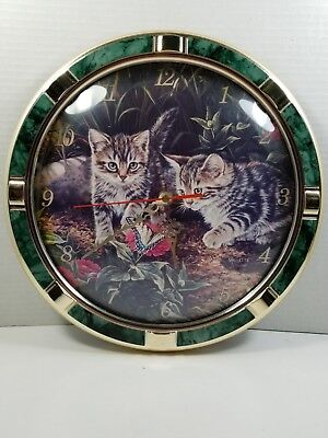 Vintage 1994 Fine Arts Creations Wall Clock w/2 Tabby Kittens/Cats, Works Great!, used for sale  Wilkes-Barre