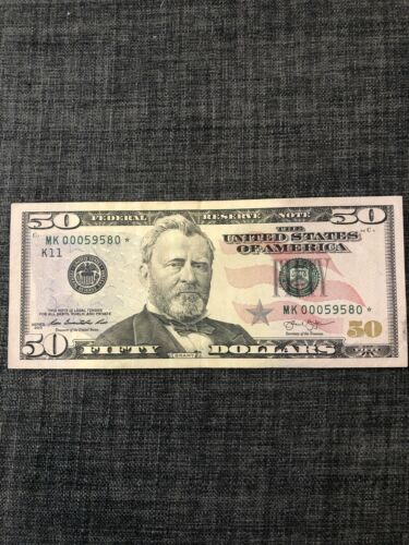 2013 50 Bill Star Note Low Serial Number MK00059580  - $99.00