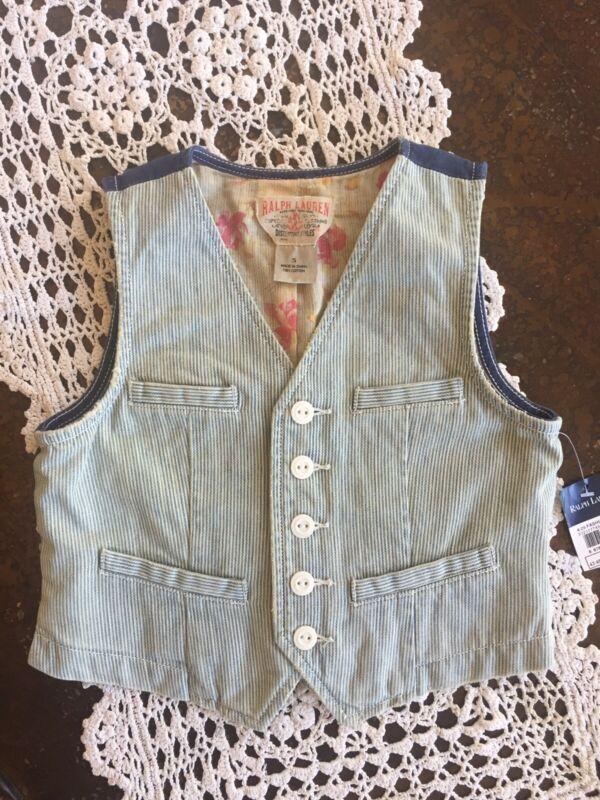 New Ralph Lauren Vintage Girls Blue Denim Striped Vest 5 Years Denim Vest