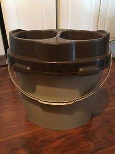 FOR SALE: DOG FOOD STORAGE CONTAINER WITH DOUBLE BOWLS.