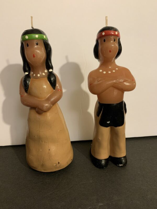 Vintage Rare 1940's Mid Century Native American Man & Woman Candle Set RARE