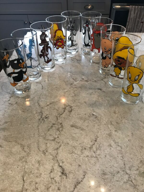Set of 10 Brockway Pepsi 1973 Looney Tunes Collector Series Glasses