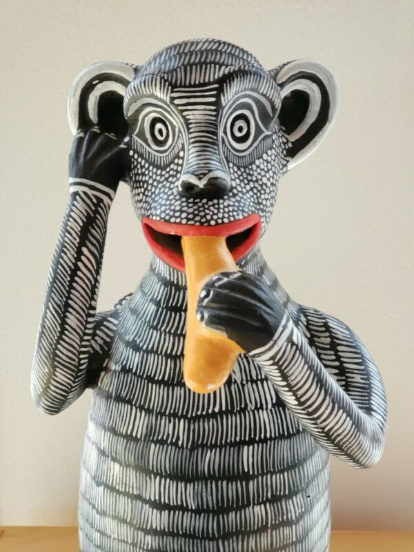 Vintage Mexican Folk Art Monkey Pottery Bank Figurine Animal Mexico Oaxacan