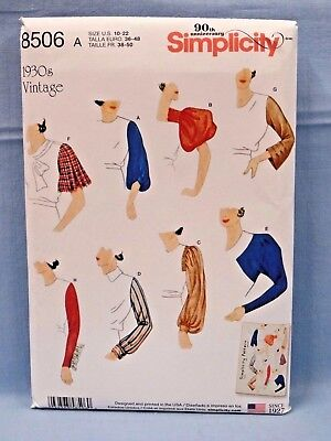 SIMPLICITY PATTERN 8506 SLEEVES RETRO 30 MISSES SIZES 10 12 14 16 18 20 22 UNCUT