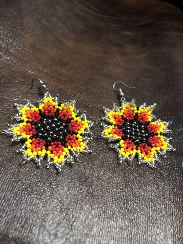 huichol beaded earrings/ Mexican/ Flower Earrings