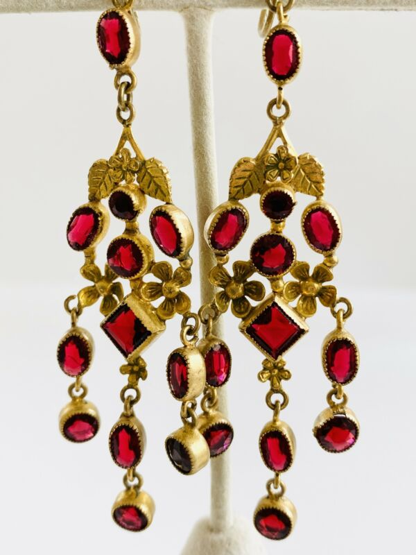 Vintage Antique Czech Red Screw Back Long Dangle Gold Chandelier Earrings