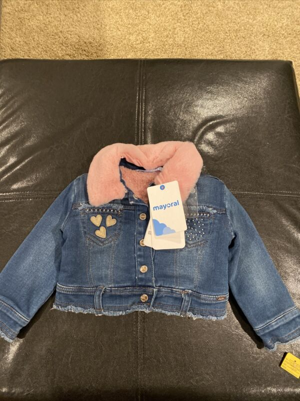 mayoral baby girl Jean Jacket With Pink Furry Collar 12 80CM