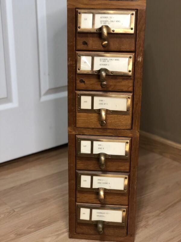 6 Drawer Library Card Catalog w/ 4000+ Original Vintage Catalog Cards Inside