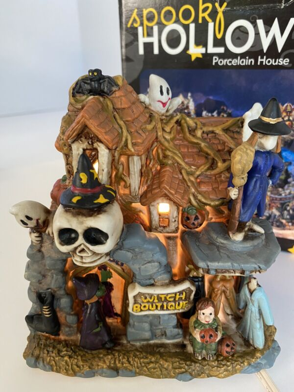 Spooky Hollow Lighted Porcelain Halloween House 2002 Witch Boutique Ghost Works
