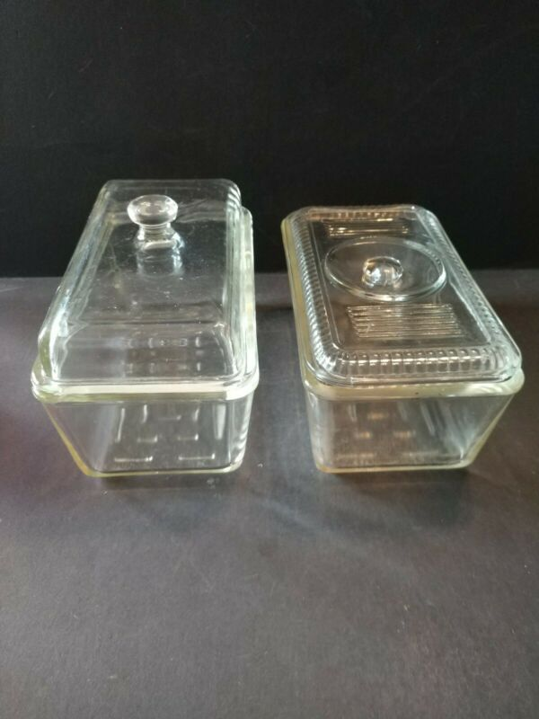 Set of 2 Vintage Westinghouse Clear Glass Refrigerator Dish Loaf Pans with Lids