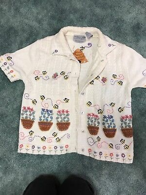 Bees Flowers Theme/Ugly Sweater Womens Size Small Cream Multi Embroidered](Ugly Sweater Theme)