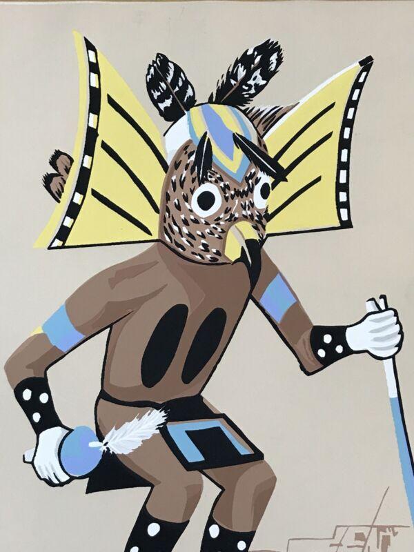 Vintage SILKSCREEN American Indian Hopi Kachina Mongwa Great Horned Owl by CS