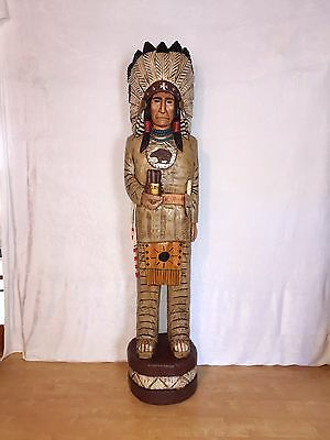 John Gallagher Carved Wooden Cigar Store Indian 6 ft.Tall very detailed in stock